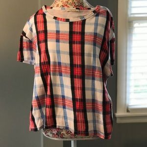 Zara TRF Trafaluc Large red & blue checkered top